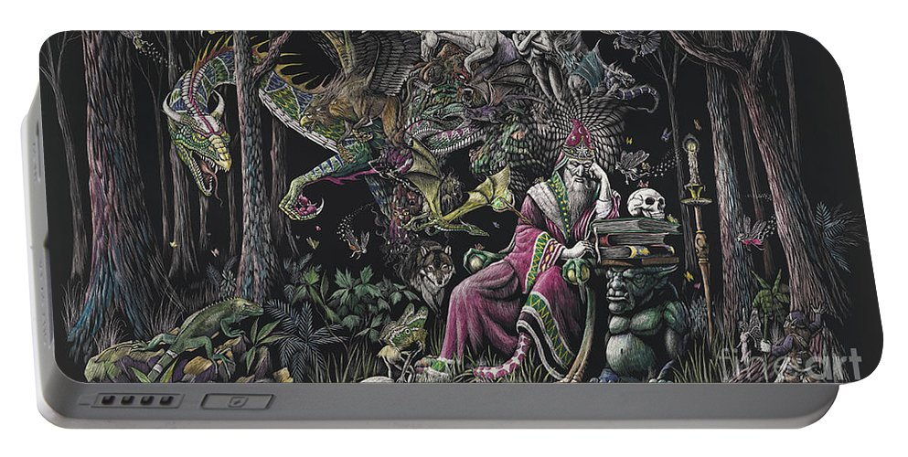 Dragon Portable Battery Charger featuring the drawing When Wizards Dream by Stanley Morrison