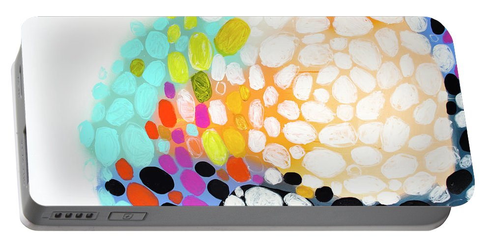 Abstract Portable Battery Charger featuring the painting When You Get Home by Claire Desjardins