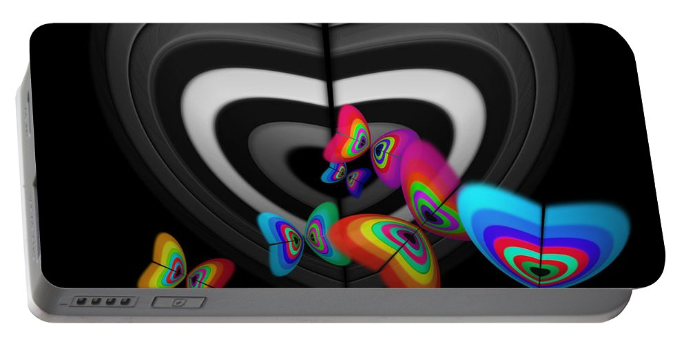 Monochrome Portable Battery Charger featuring the digital art Where Angels Fear To Tread by Charles Stuart