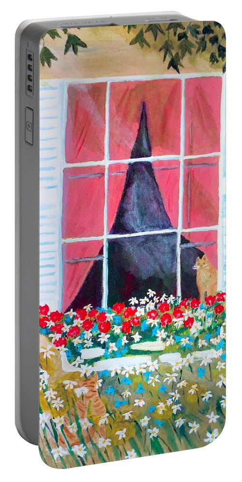 Claudia Thomas Portable Battery Charger featuring the painting Where Are You Charlie by Claudia Thomas