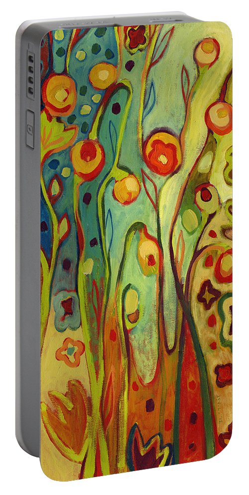 Floral Portable Battery Charger featuring the painting Where Does Your Garden Grow by Jennifer Lommers