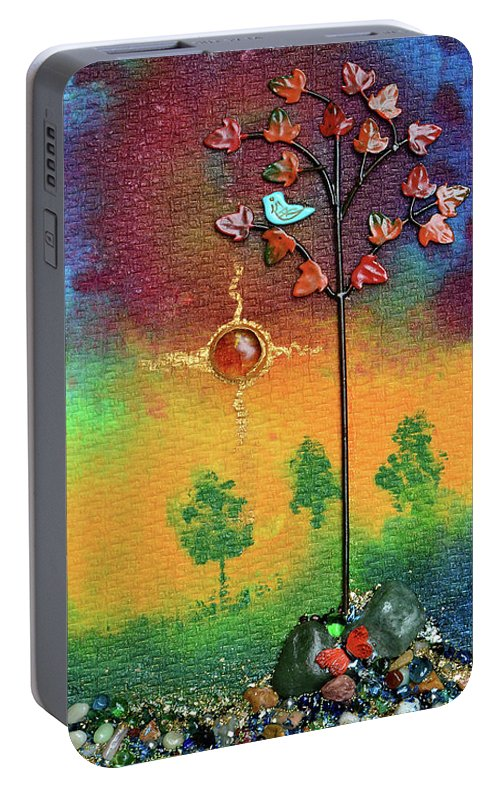 Mixed Media Landscape Portable Battery Charger featuring the mixed media Where Fireflies Gather by Donna Blackhall