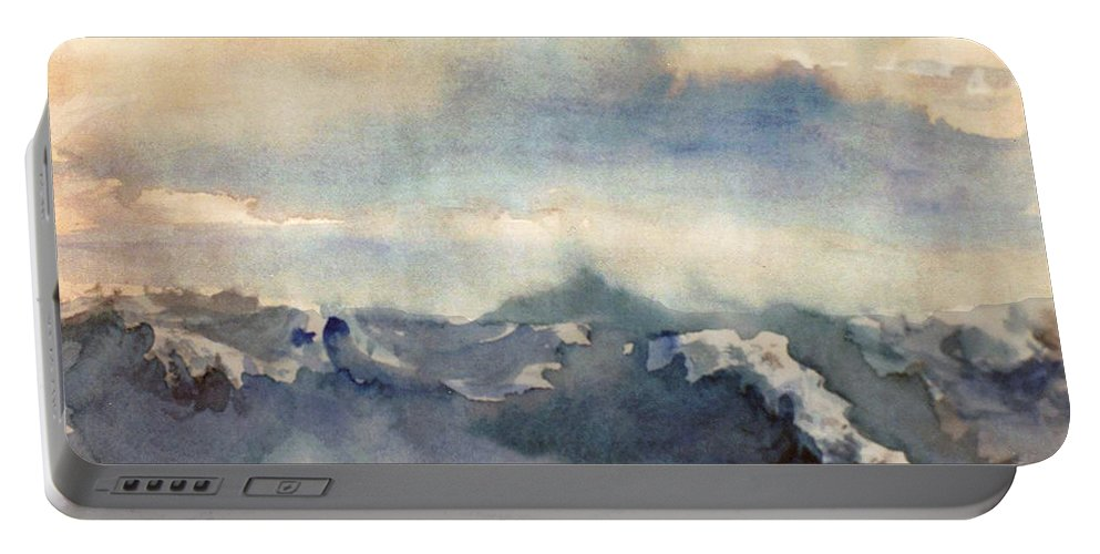 Seascape Portable Battery Charger featuring the painting Where Sky Meets Ocean by Steve Karol
