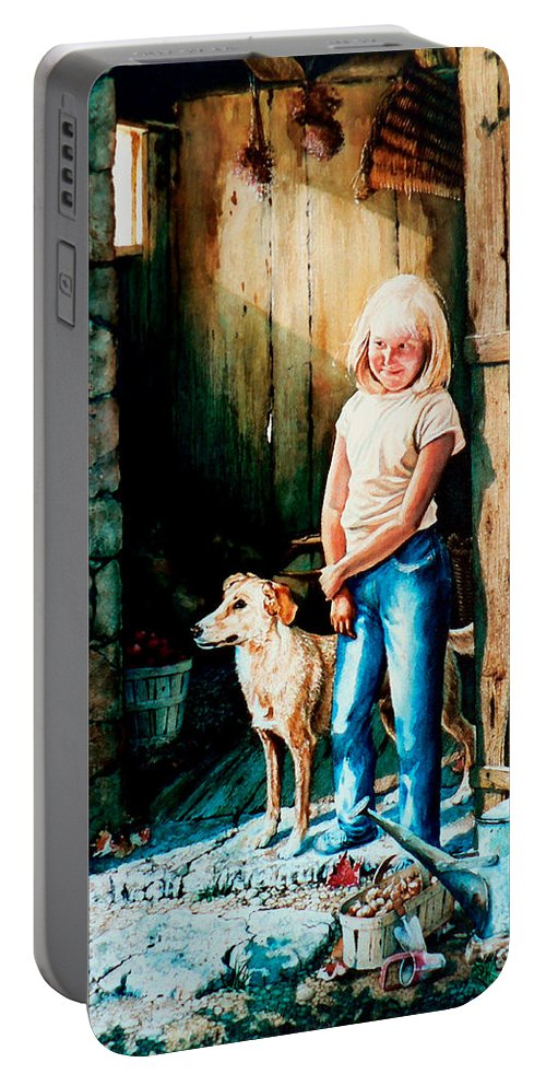 Tribute To Connie Francis Portable Battery Charger featuring the painting Where The Boys Are by Hanne Lore Koehler
