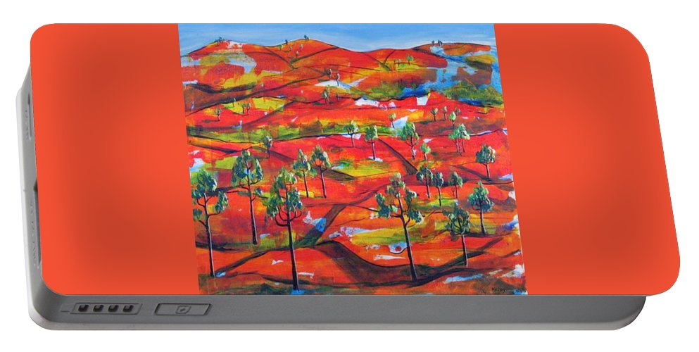 Landscape Portable Battery Charger featuring the painting Where The Road Goes   by Rollin Kocsis