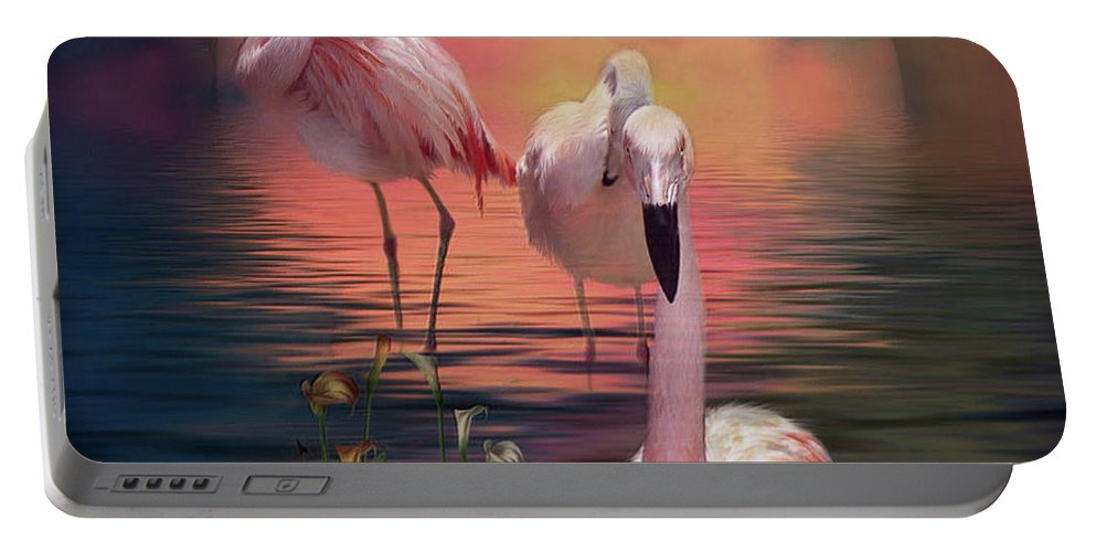 Flamingo Portable Battery Charger featuring the mixed media Where The Wild Flamingo Grow by Carol Cavalaris