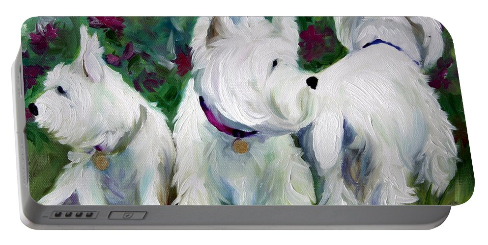 Art Portable Battery Charger featuring the painting Which Way Did It Go by Mary Sparrow
