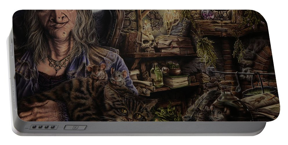 Fantasy Portable Battery Charger featuring the painting Which witch is which by Robert Haasdijk