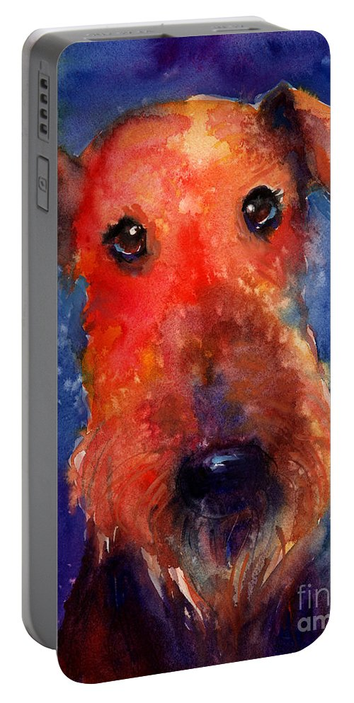 Airedale Dog Painting Portable Battery Charger featuring the painting Whimsical Airedale Dog Painting by Svetlana Novikova