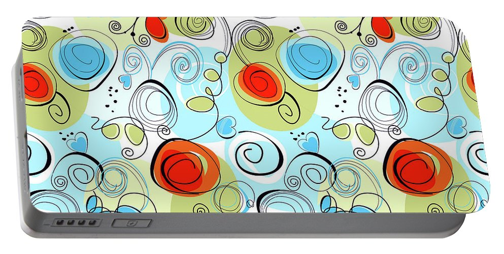 Modern Portable Battery Charger featuring the digital art Whimsical Seamless Pattern by Long Shot