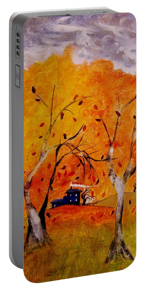 Abstract Portable Battery Charger featuring the painting Whimsical Wind by Ruth Palmer