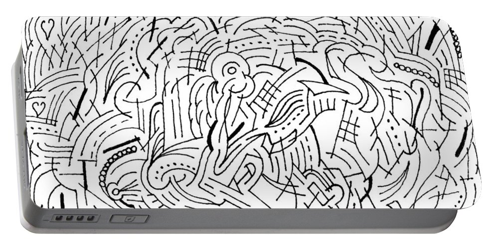 Mazes Portable Battery Charger featuring the drawing Whirl by Steven Natanson