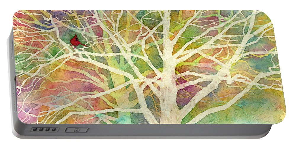 Cardinal Portable Battery Charger featuring the painting Whisper by Hailey E Herrera