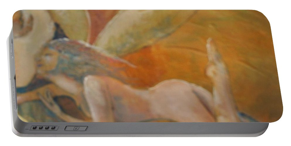 Fairy Portable Battery Charger featuring the painting Whisper by J Bauer