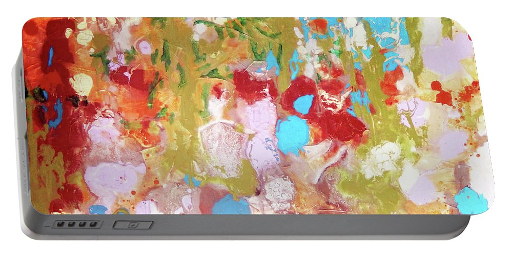 Top Artist Portable Battery Charger featuring the painting Whispering In The Woods by Sharon Nelson-Bianco