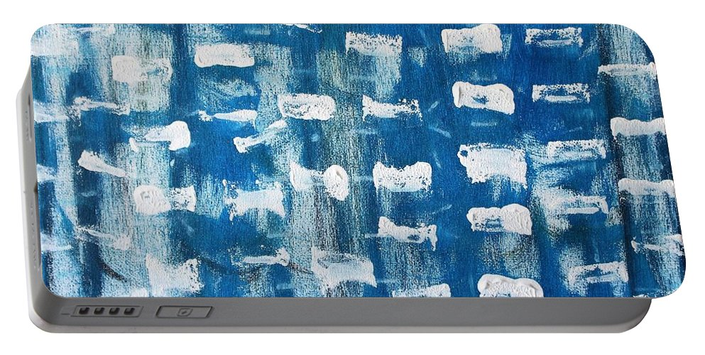 Blue Portable Battery Charger featuring the painting Whispering Pines by Pam Roth O'Mara