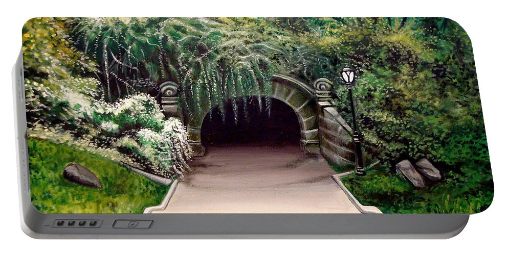 Landscape Portable Battery Charger featuring the painting Whispering Tunnel by Elizabeth Robinette Tyndall