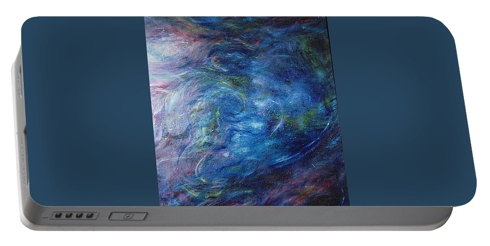 Abstract Portable Battery Charger featuring the painting Whispers In A Sea Of Blue by Nancy Mueller