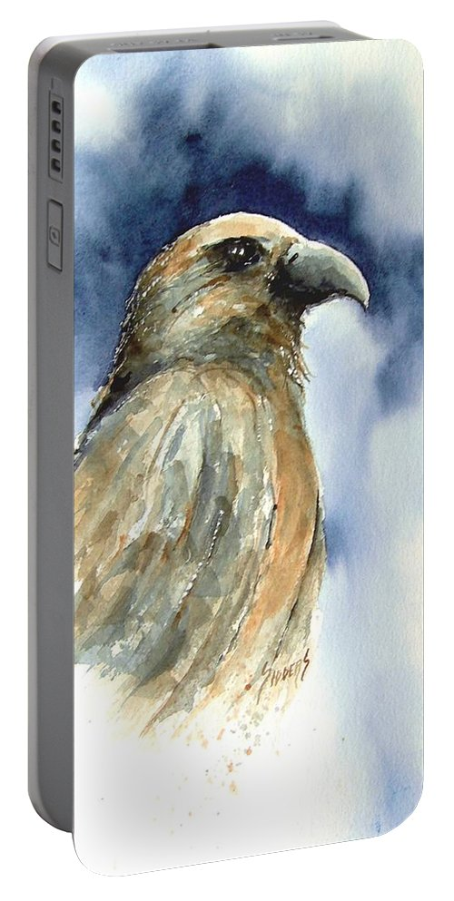 Falcon Portable Battery Charger featuring the painting Whistler by Sam Sidders