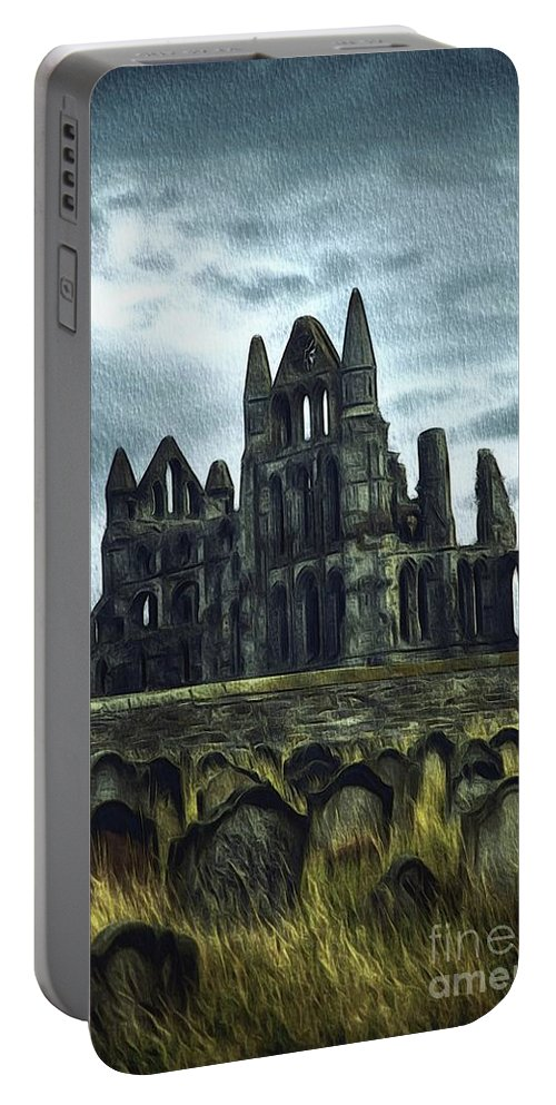 Whitby Portable Battery Charger featuring the painting Whitby Abbey, England by John Springfield