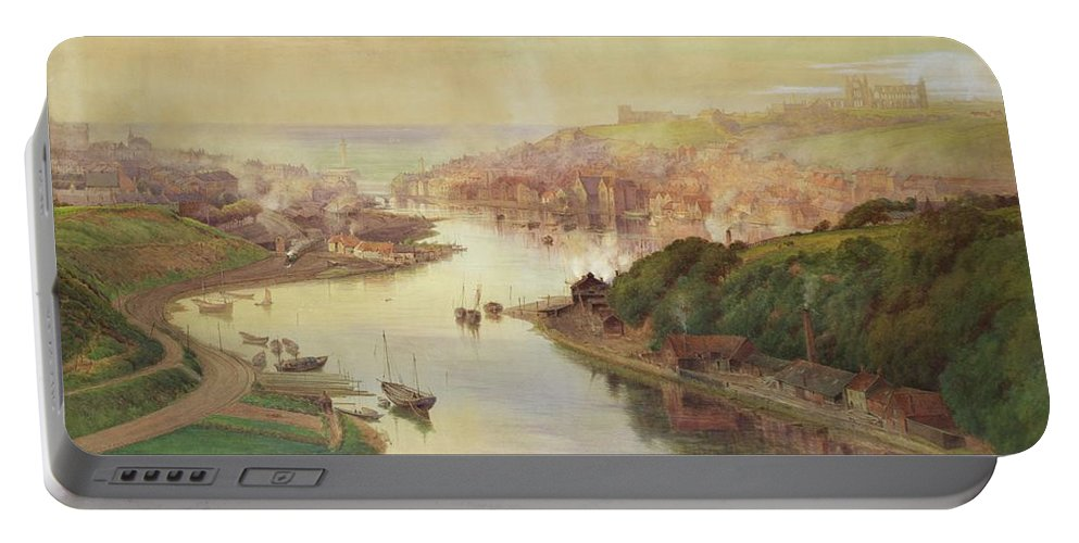 Whitby Portable Battery Charger featuring the painting Whitby From Larpool by John Sowden