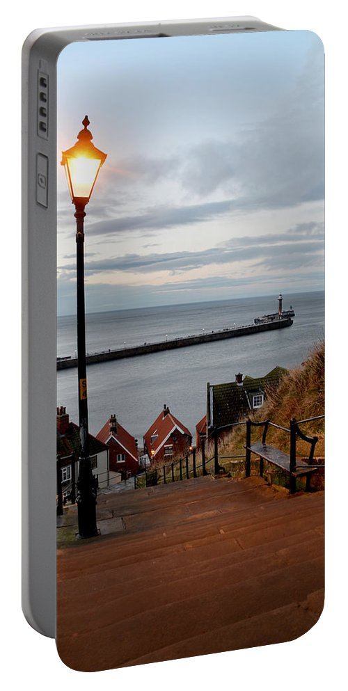 Whitby Portable Battery Charger featuring the photograph Whitby Steps Blue Hour by Sarah Couzens