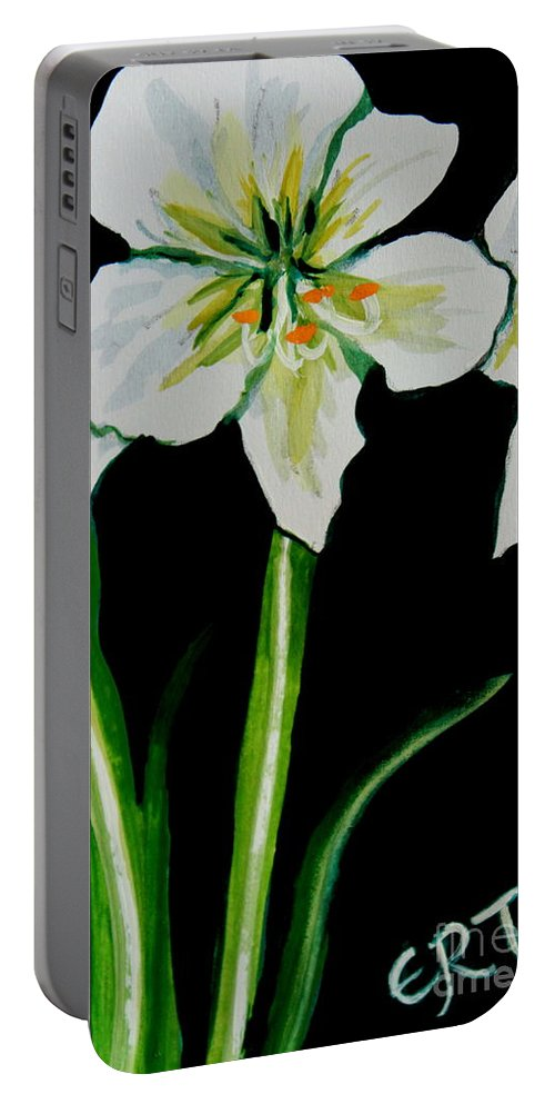 Black And White Portable Battery Charger featuring the painting White Amaryllis by Elizabeth Robinette Tyndall