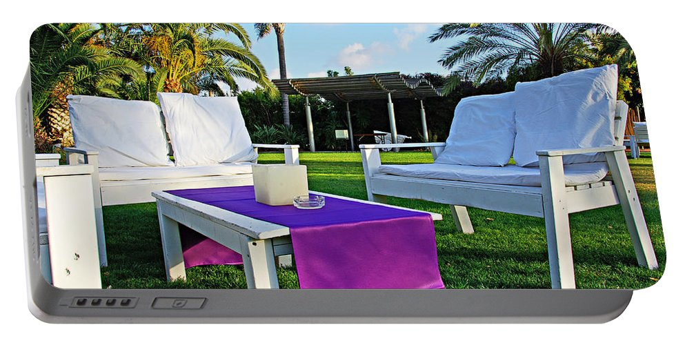 White Portable Battery Charger featuring the photograph White And Purple by Zal Latzkovich