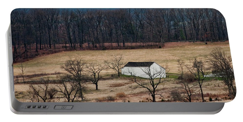 Landscape Portable Battery Charger featuring the photograph White Barn by David Arment