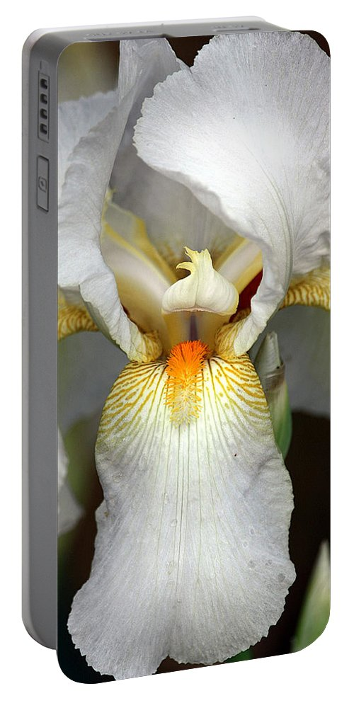 Nature Portable Battery Charger featuring the photograph White Bearded Iris 2 by Sheila Brown