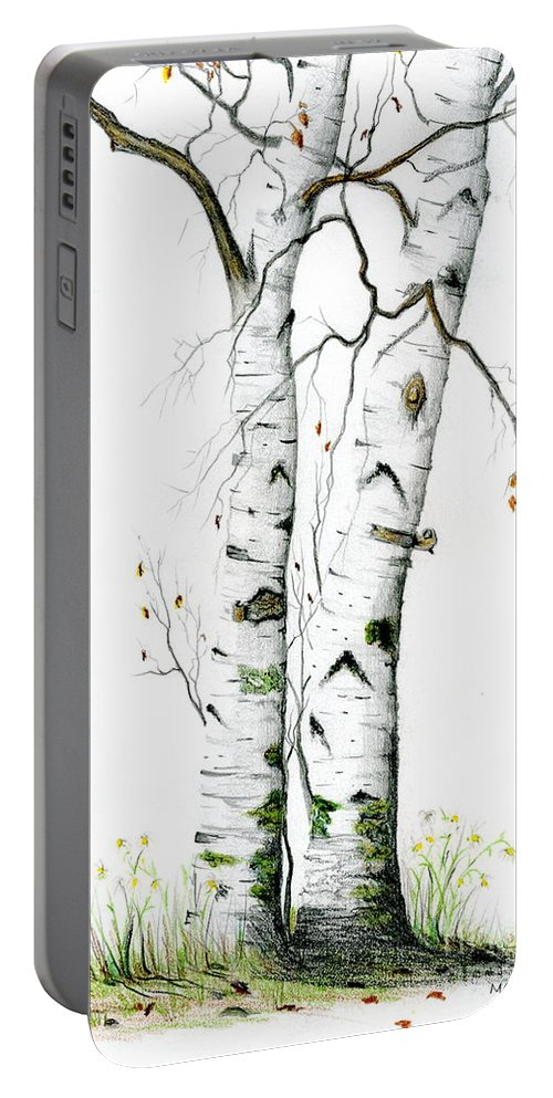 White Birch Portable Battery Charger featuring the painting White Birch by Mary Tuomi