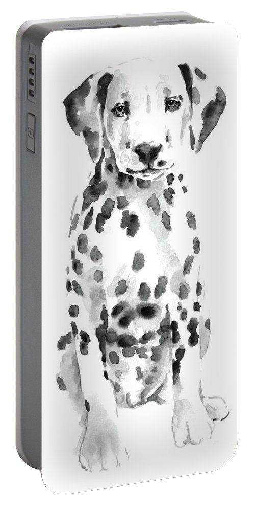 Drawing & Illustration Portable Battery Charger featuring the painting Dalmatian Dog Watercolor Painting, White Black Spotted Dalmatian Puppy Art Print by Joanna Szmerdt