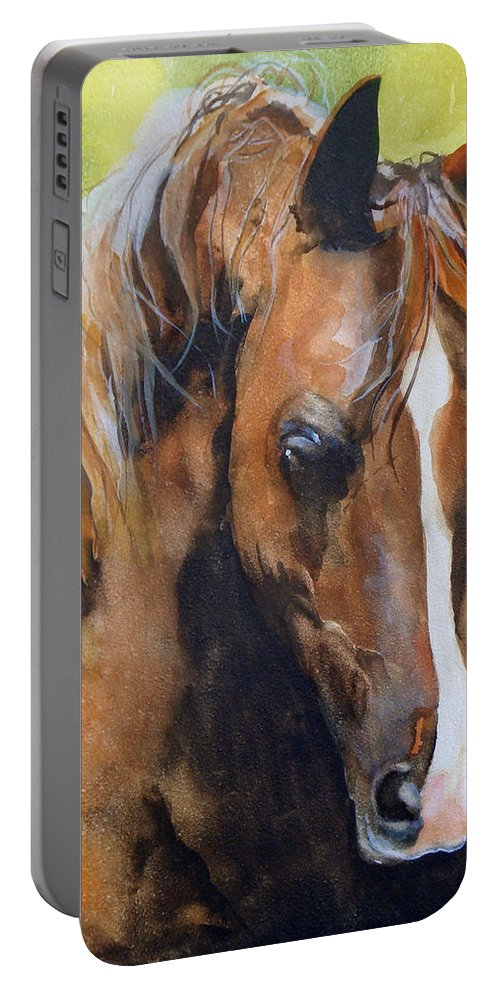 Horse Portable Battery Charger featuring the painting White Blaze by Jean Blackmer