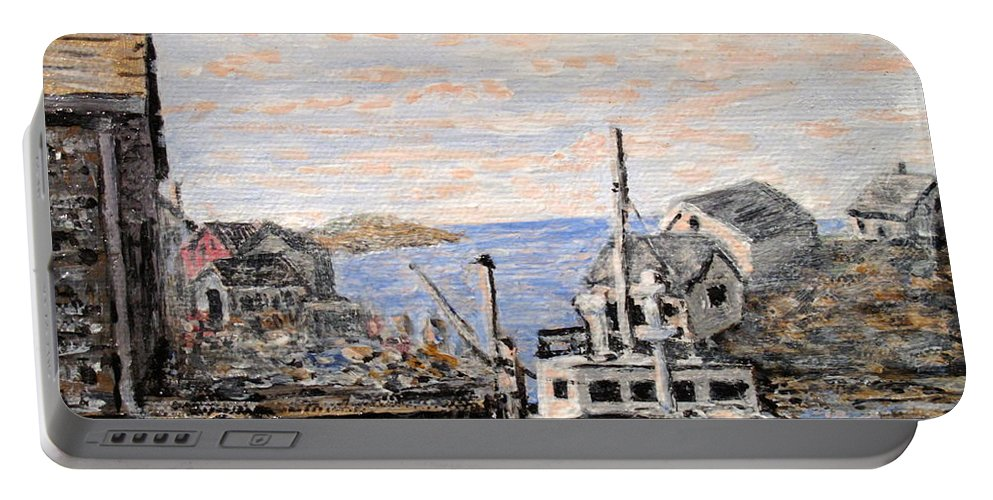 White Portable Battery Charger featuring the painting White Boat In Peggys Cove Nova Scotia by Ian MacDonald