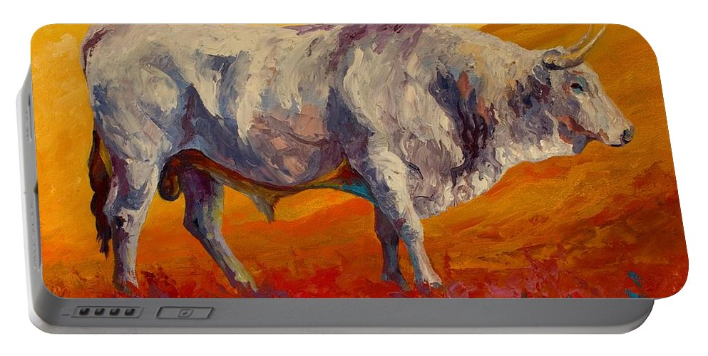 Cows Portable Battery Charger featuring the painting White Bull by Marion Rose