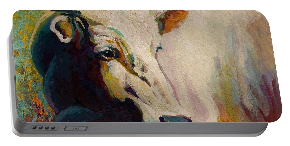 Cow Portable Battery Charger featuring the painting White Bull Portrait by Marion Rose