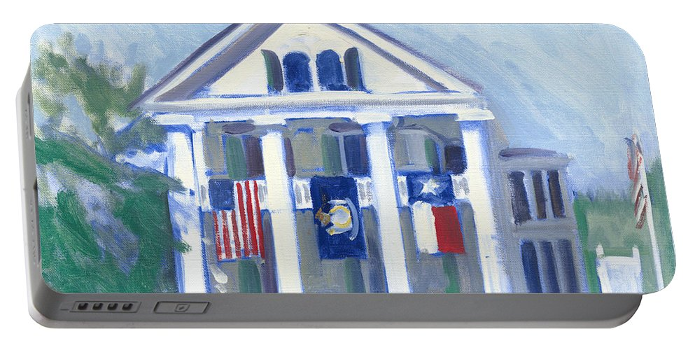 White Columns Portable Battery Charger featuring the painting White Columns by Candace Lovely