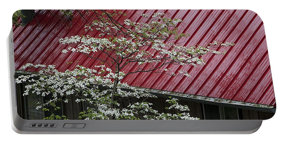 Tree Portable Battery Charger featuring the photograph White Dogwood In The Rain by Mitch Spence