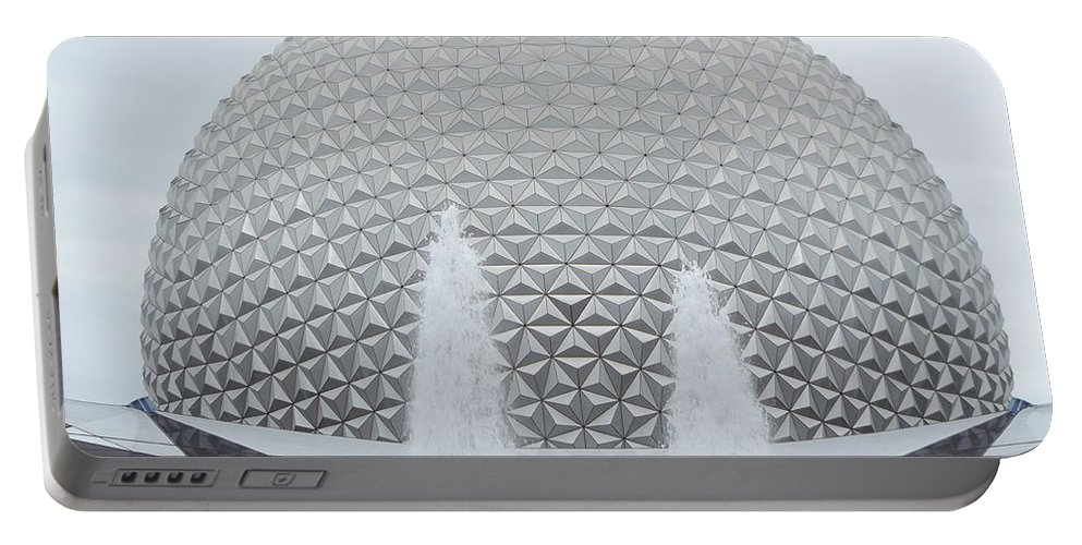 Epcot Portable Battery Charger featuring the photograph White Epcot by Erick Schmidt