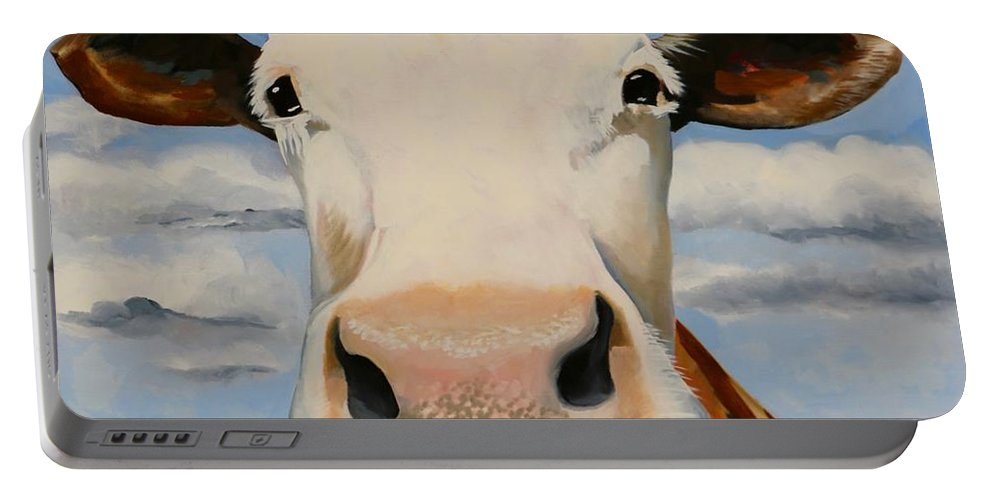 Cow Portable Battery Charger featuring the painting White Face by Lori A Johnson