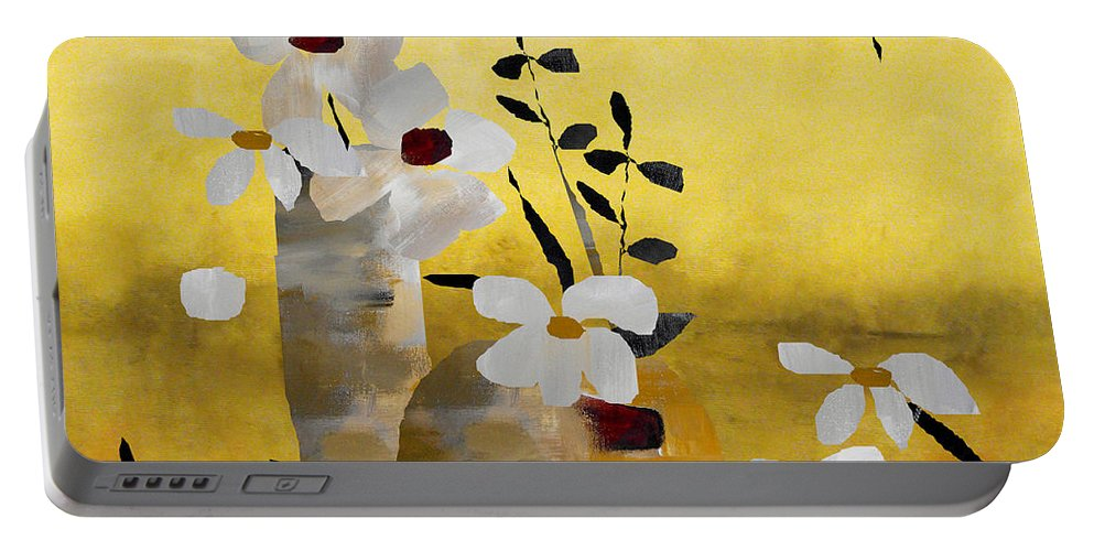 Abstract Portable Battery Charger featuring the painting White Floral Collage II by Ruth Palmer