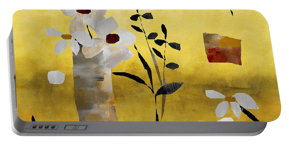 Abstract Portable Battery Charger featuring the painting White Floral Collage by Ruth Palmer