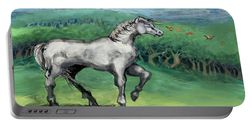 Horse Portable Battery Charger featuring the painting White Horse by Kevin Middleton