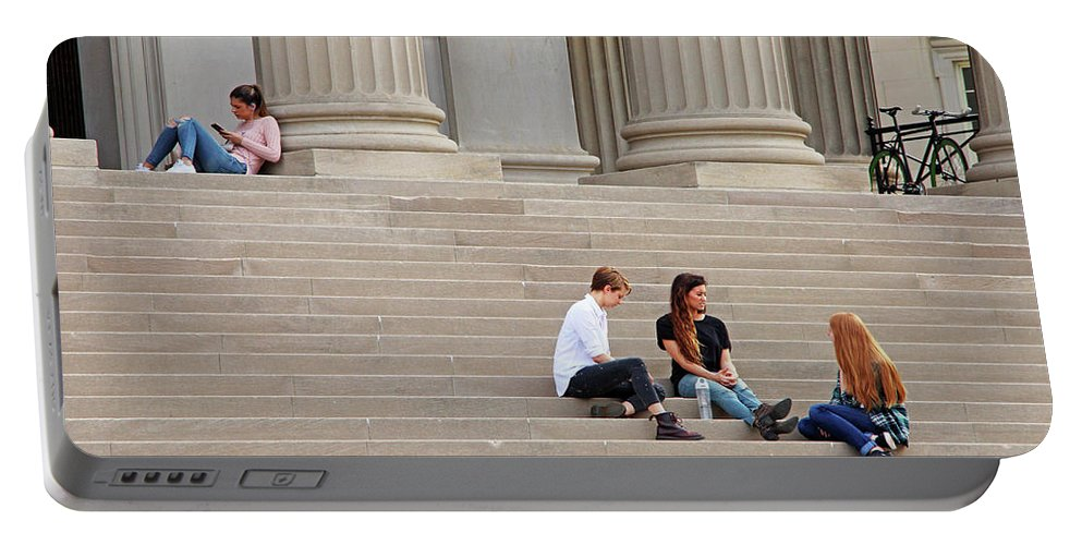 Steps Portable Battery Charger featuring the photograph Hanging Out On Steps by Cora Wandel
