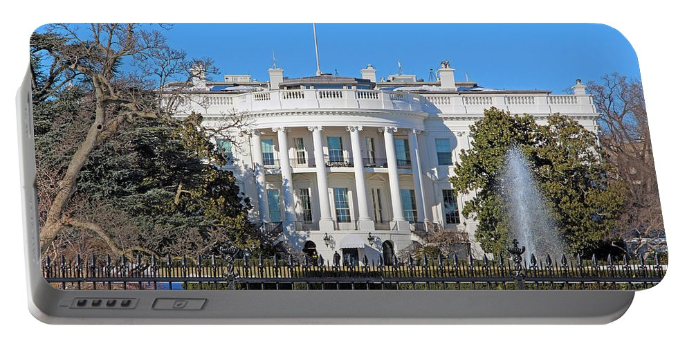 White Portable Battery Charger featuring the photograph White House South Lawn With Snow by Cora Wandel