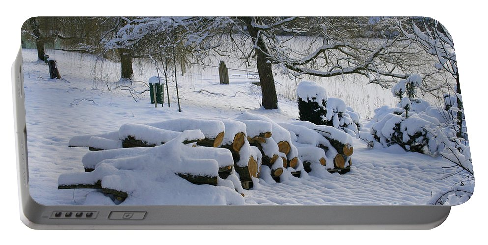 White Portable Battery Charger featuring the photograph White Idyll by Jutta Maria Pusl