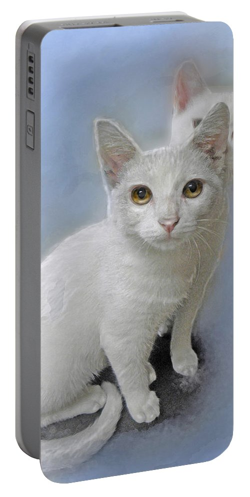 Kittens Portable Battery Charger featuring the painting White Kittens by Jane Schnetlage