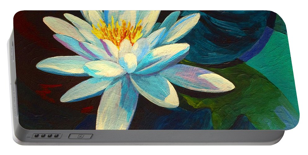 Water Lily Portable Battery Charger featuring the painting White Lily IIi by Marion Rose