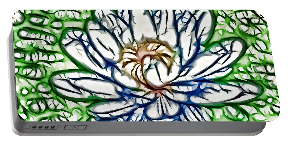 White Lotus Between Leafs On Water Field Portable Battery Charger featuring the painting White Lotus by Jeelan Clark