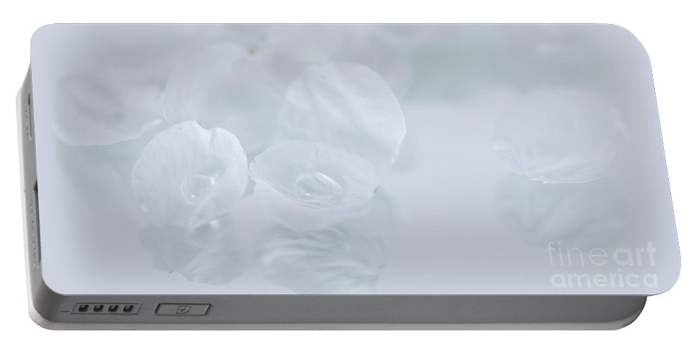 Cherry Portable Battery Charger featuring the photograph White On White by Masako Metz